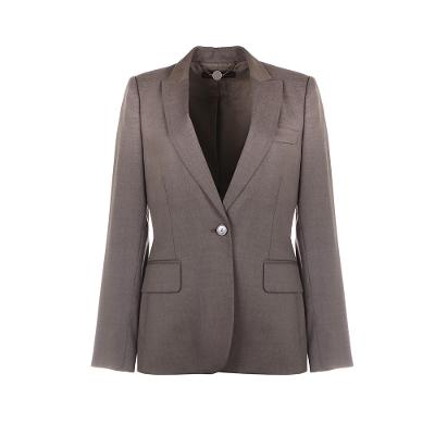 one button suit blazer grey